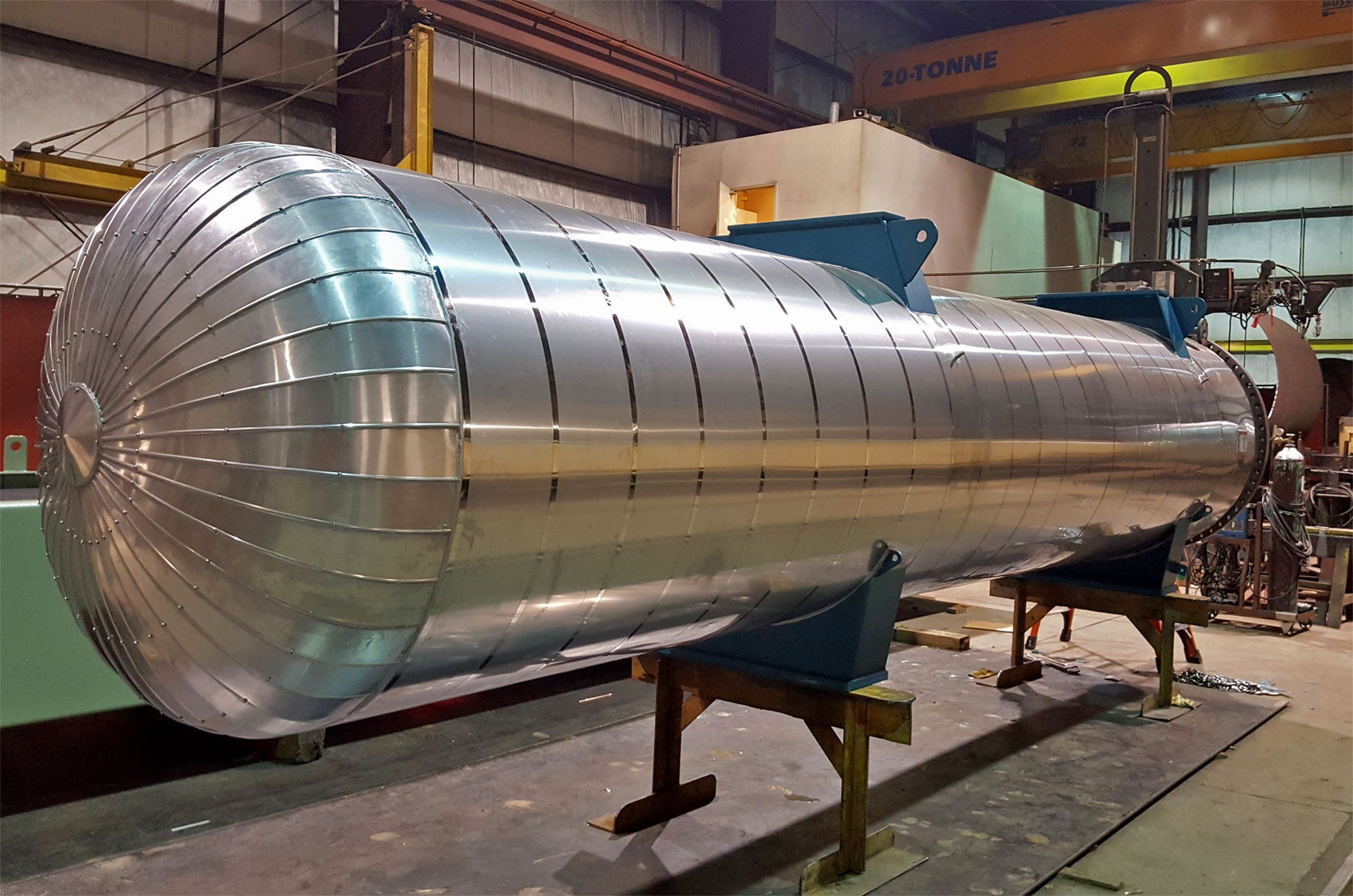 insulated cladding on pressure vessel fabricated by Enermax Mountain Manufacturing