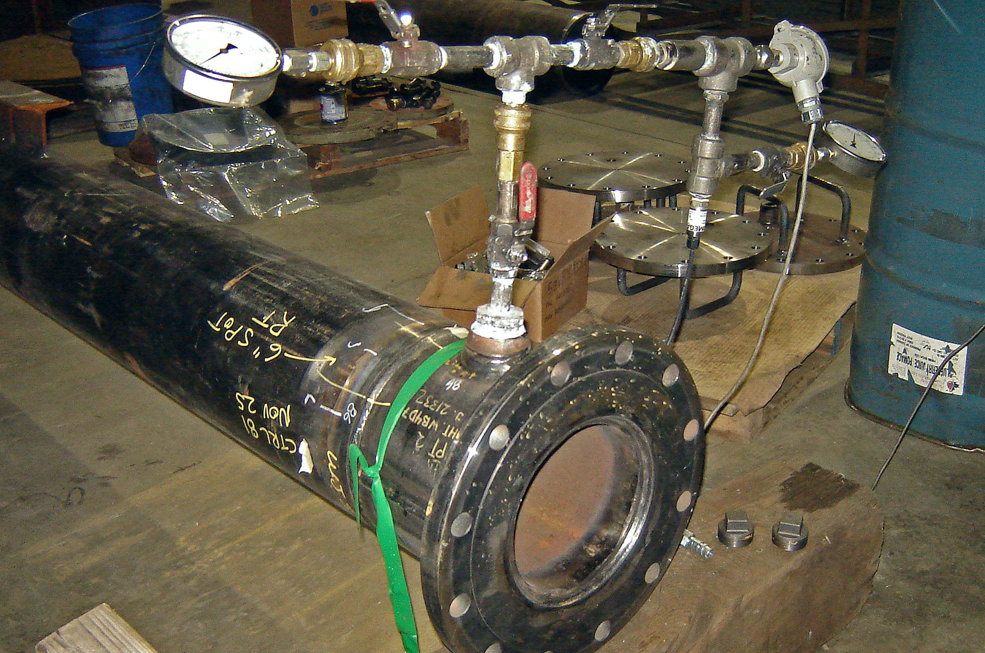 pressure testing piping spool