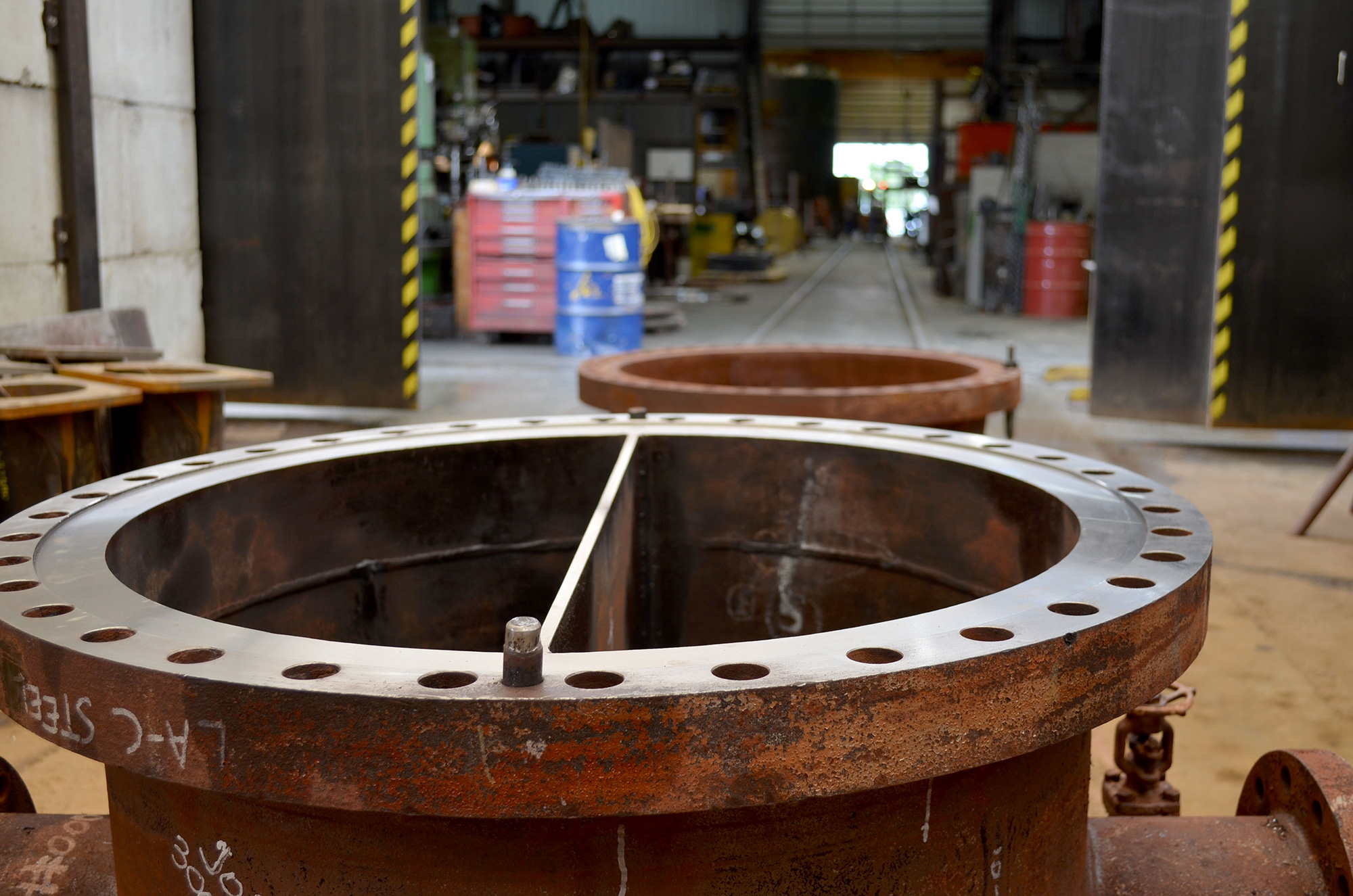 large pipe flanges exiting x-ray facility